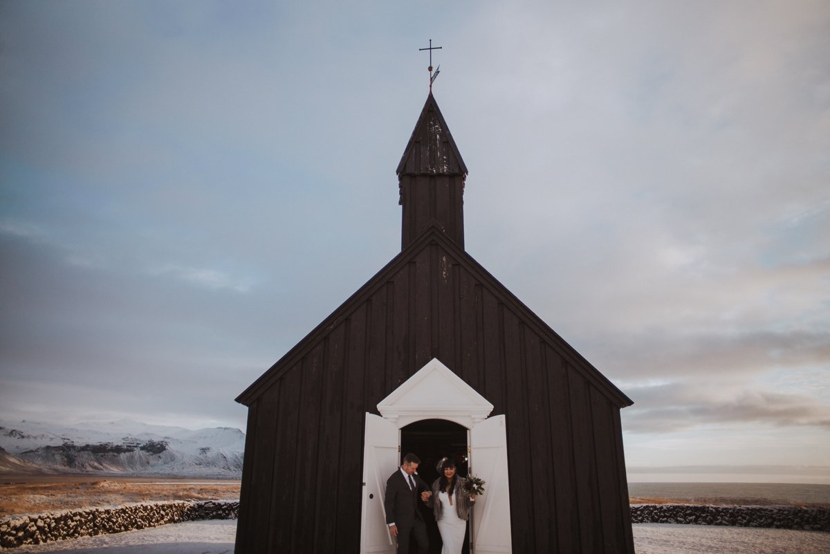 iceland winter wedding destination teri b photography hotel budir black church icelandic horse bride and groom