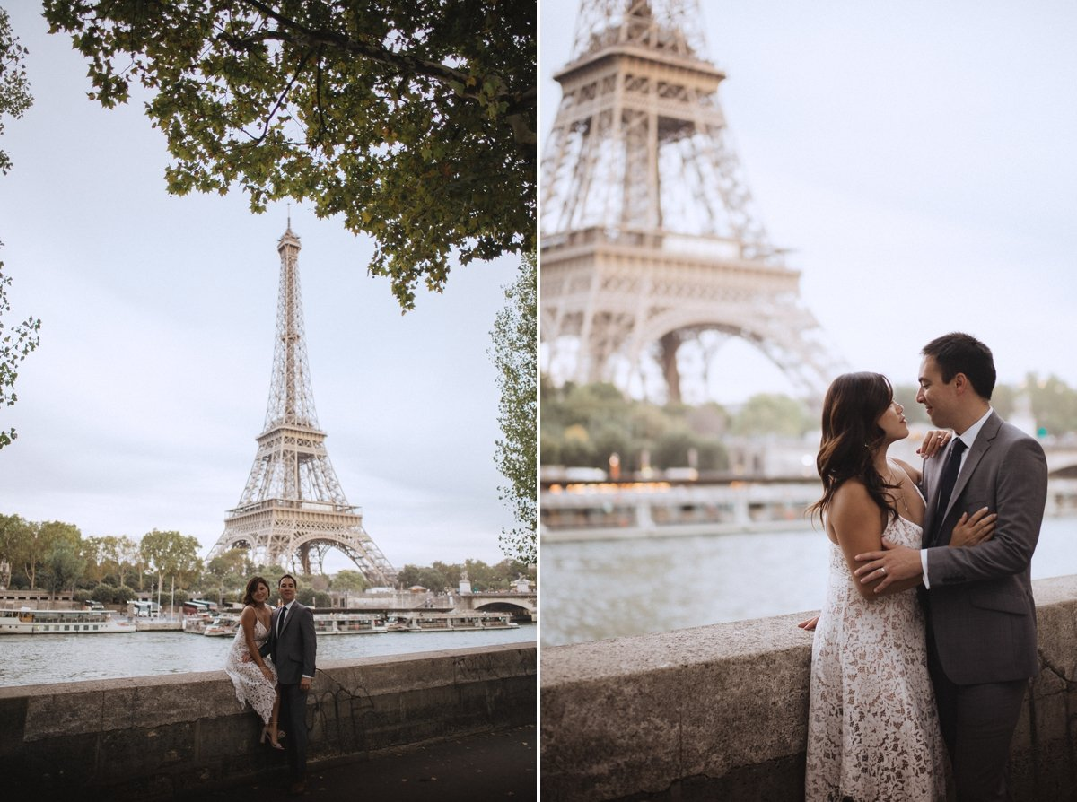 paris anniversary session bride and groom eiffel twoer at sunset honeymoon photography cafe leica wedding photographer
