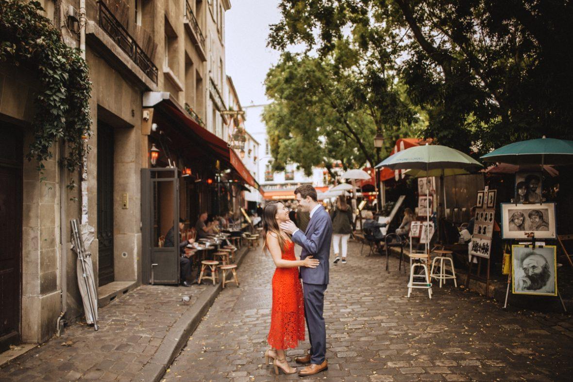 aris honeymoon session red dress montmartre france photographer wedding bride and groom