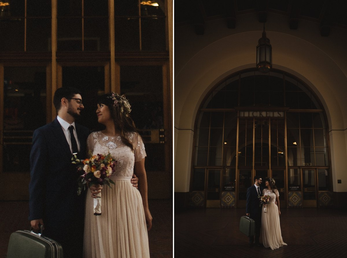 dark moody union station wedding elopement bride and groom los angeles photographer destination wedding idea teri b photography leica m240