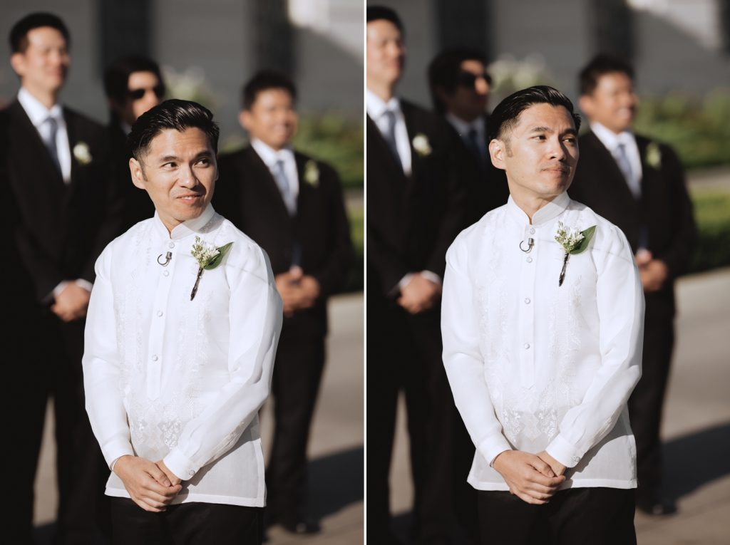 groom seeing bride walk down aisle la wedding