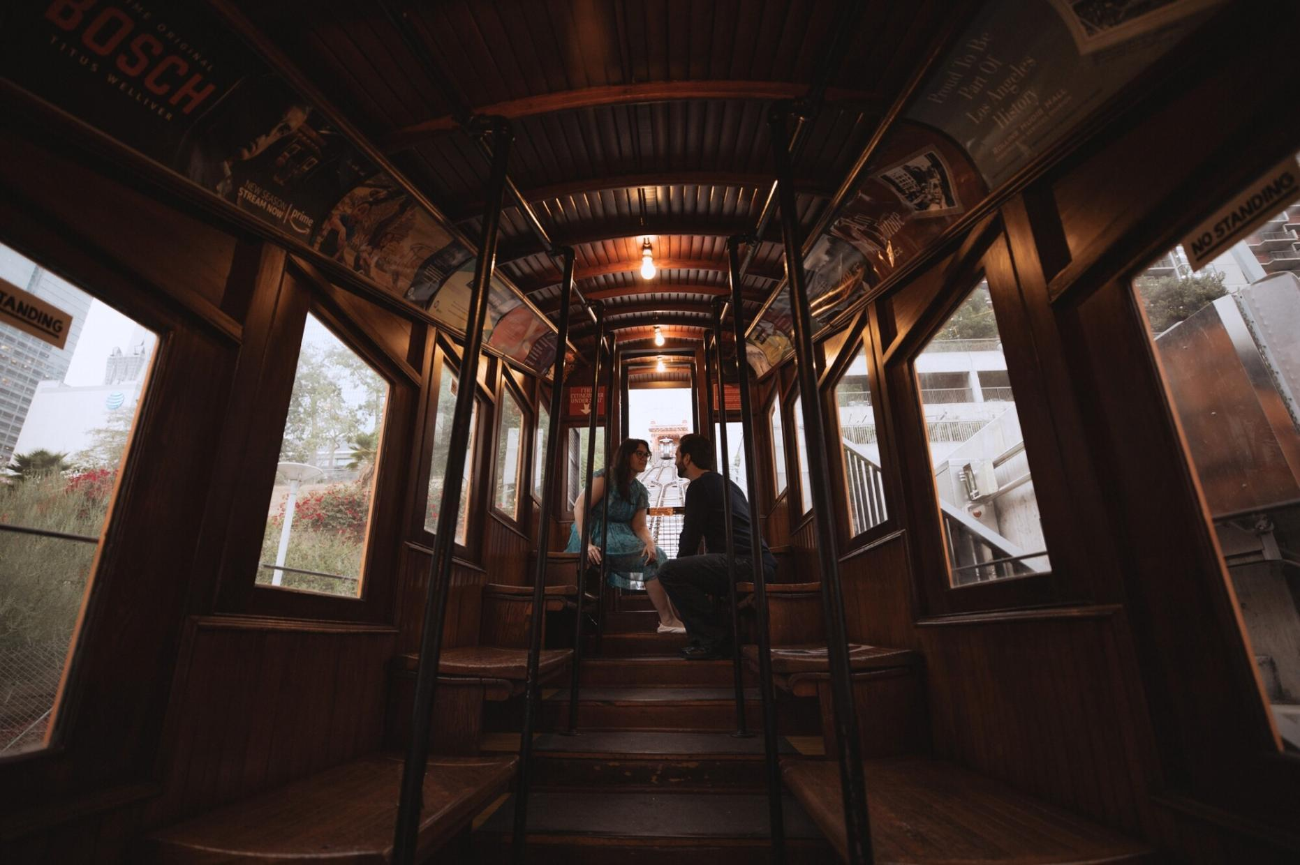 dtla angel's flight engagement session