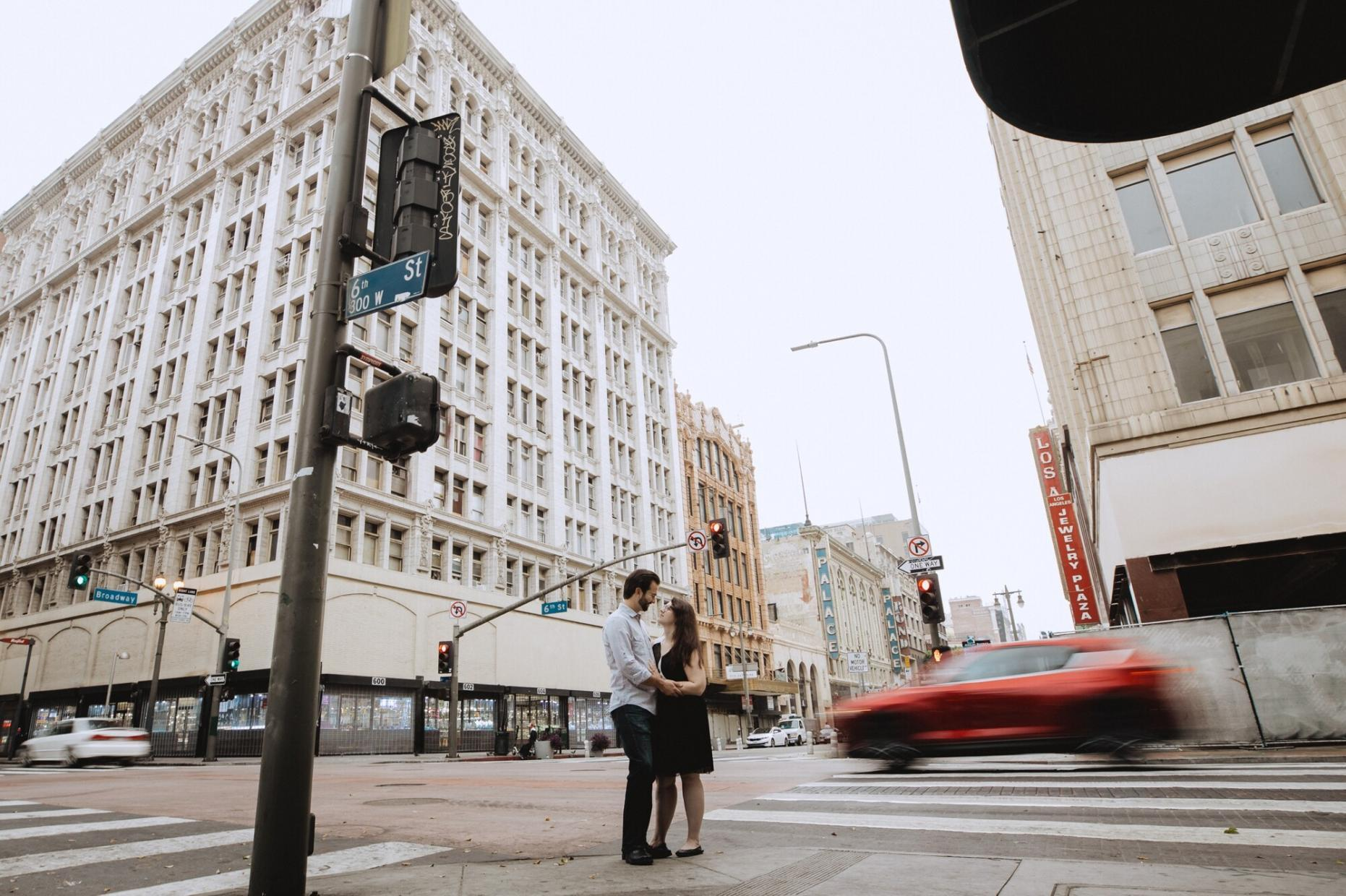dtla city los angeles engagement session palace row