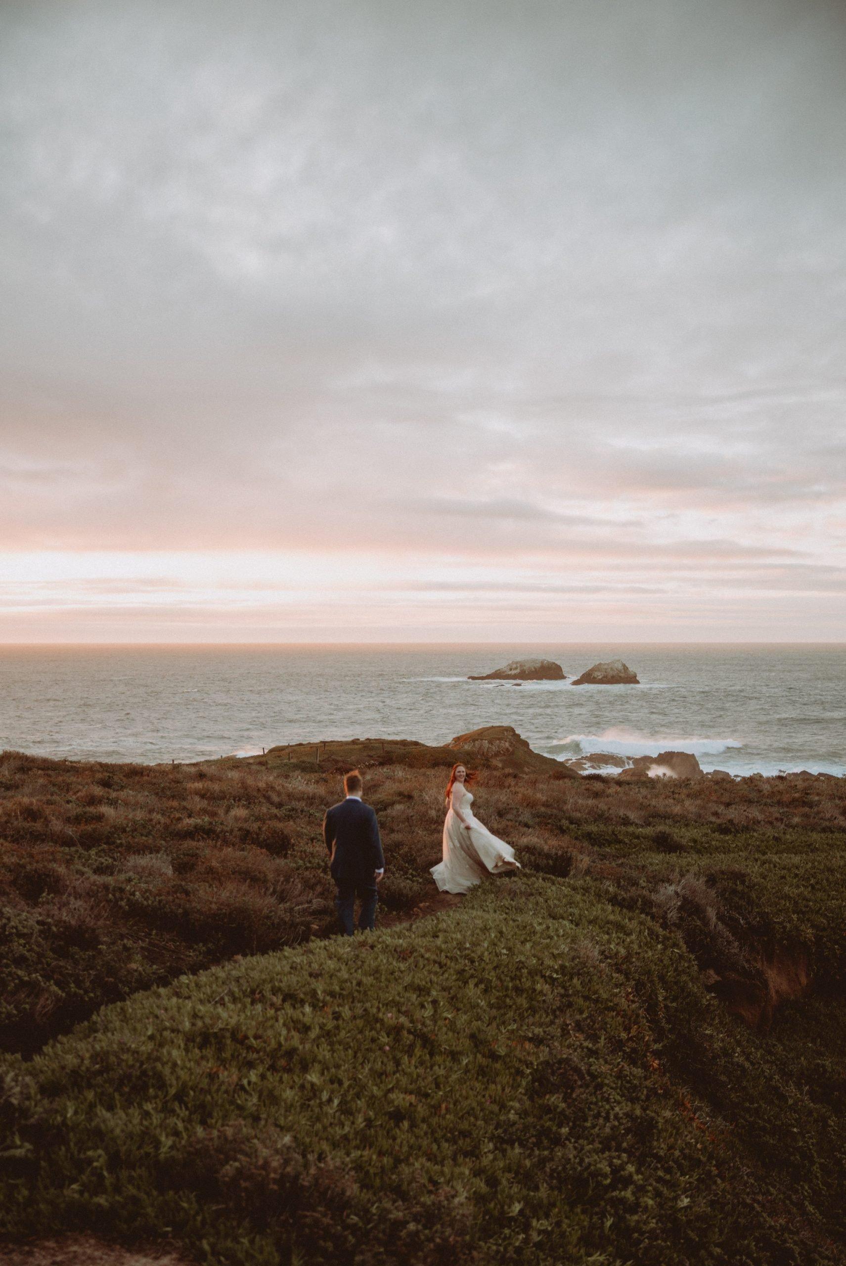 romantic seaside wedding portrait